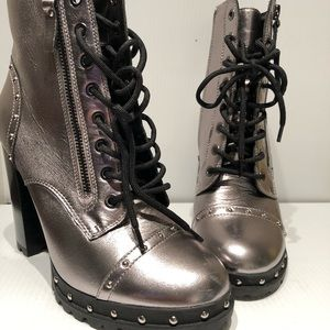 Aldo Insidro ZIP Up Boots Silver Women's Size 8